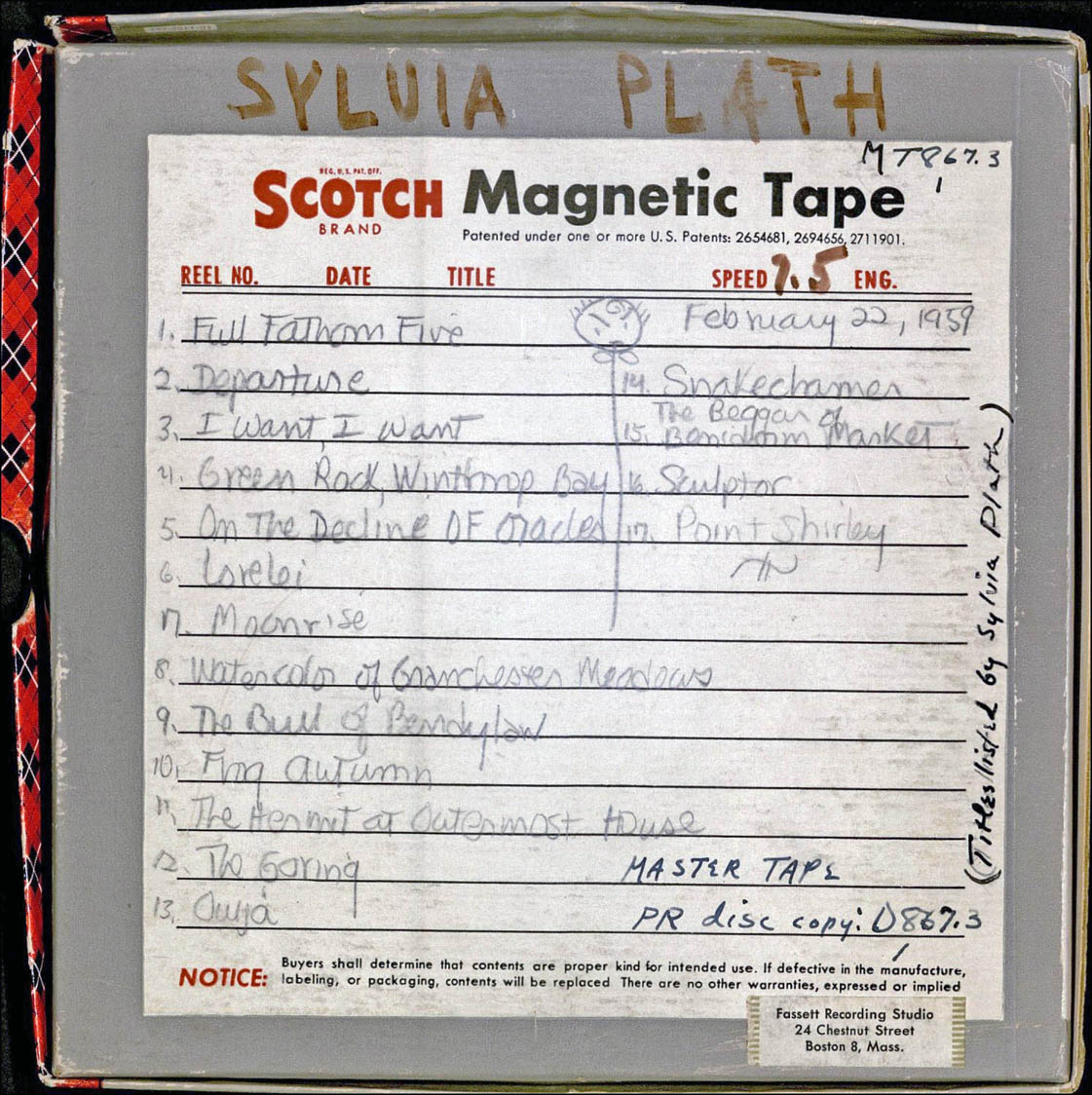 Reel-to-reel box, with handwritten track-listings by Sylvia Plath. Courtesy of the Woodberry Poetry Room, Harvard University. PS3566.L27.A6 1959x