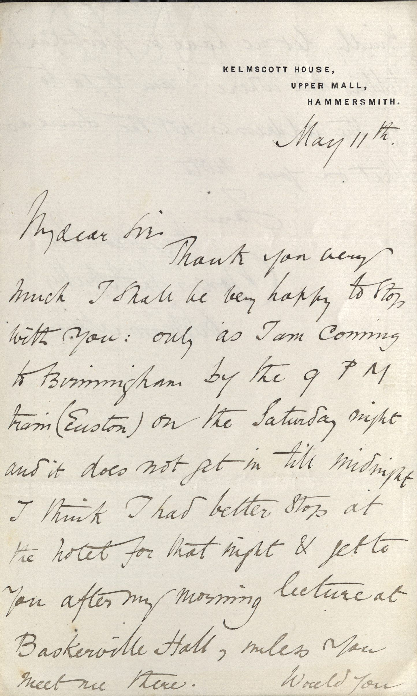 William Morris, ALS to T. F. Walker, 11 May 1886 (recto). Autograph File M.
