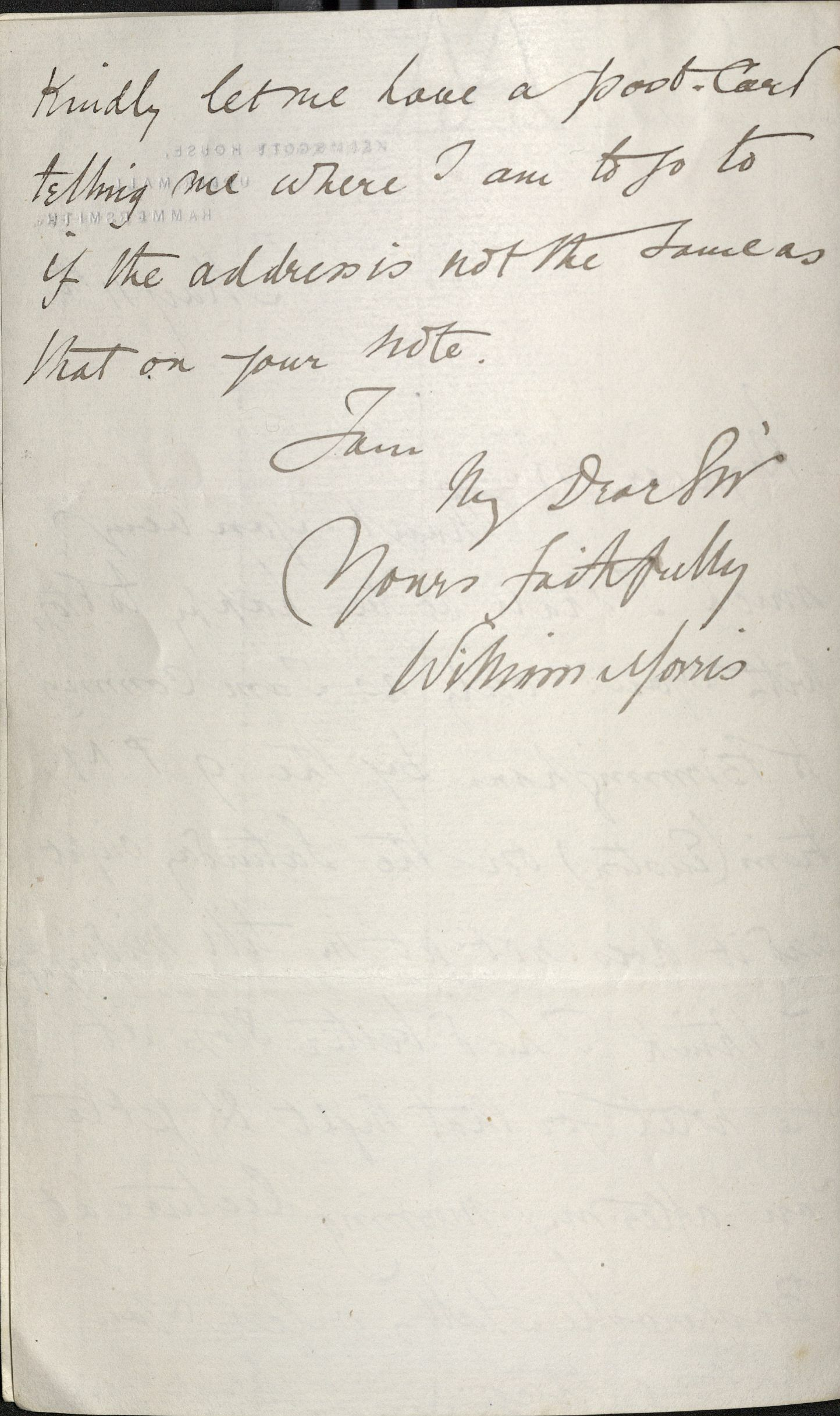 William Morris, ALS to T. F. Walker, 11 May 1886 (verso). Autograph File M.