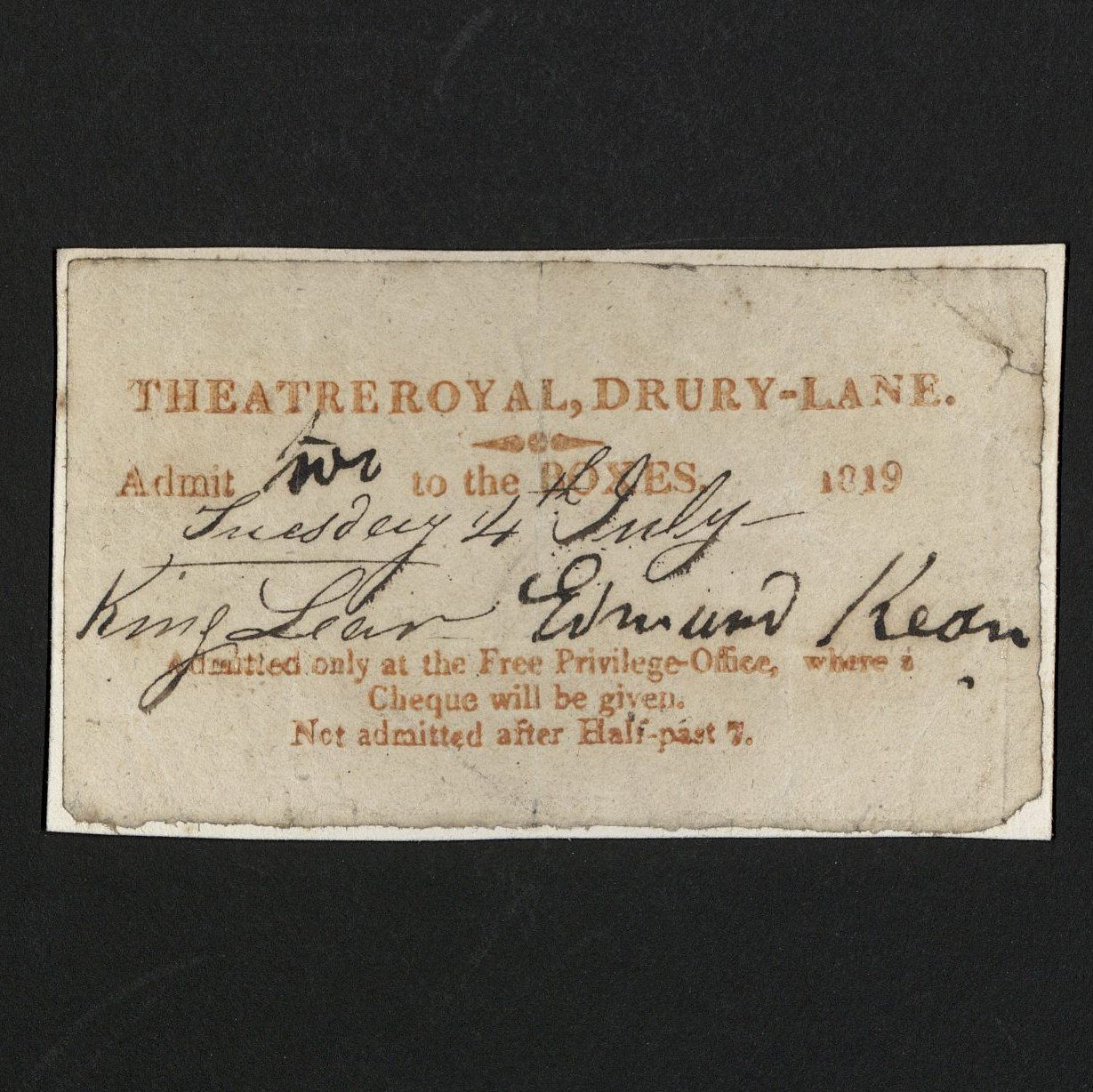 Order for Edmund Kean Performance at Drury Lane, 1819 (TS 553.801)