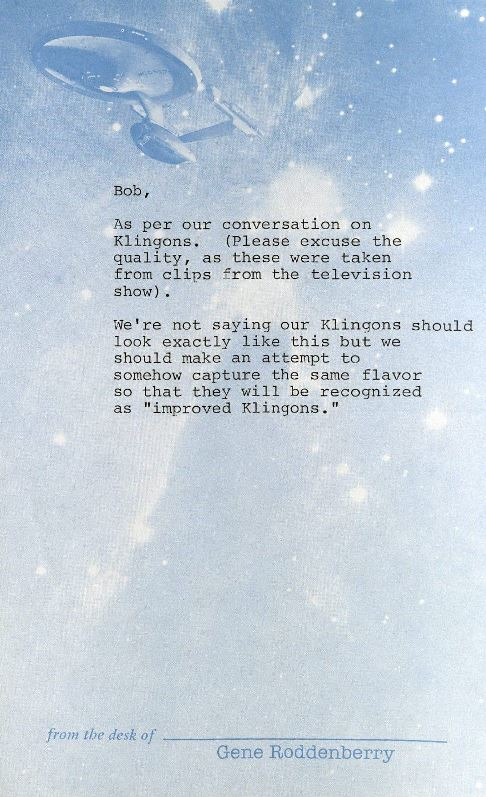 Memo from Gene Roddenberry to Robert Fletcher, n.d. *2004MT-81 Box 6
