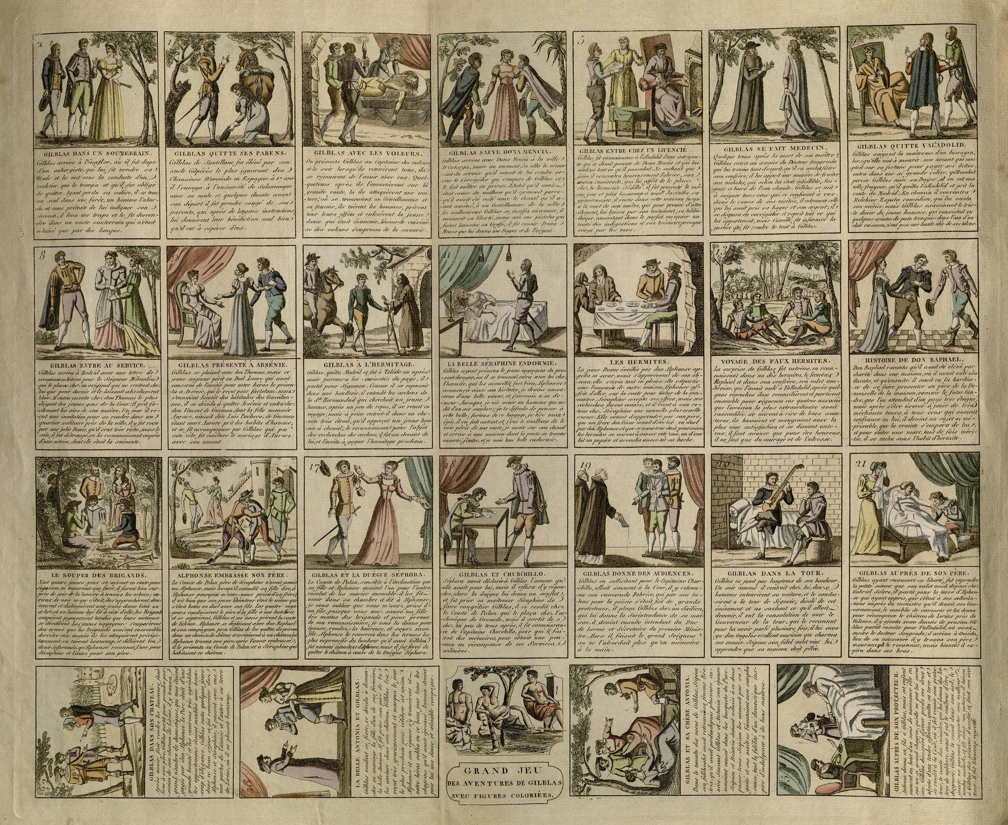 Grand Jeu des Aventures de Gil Blas. France, ca. 1800. pFB7.L5633.G800g
