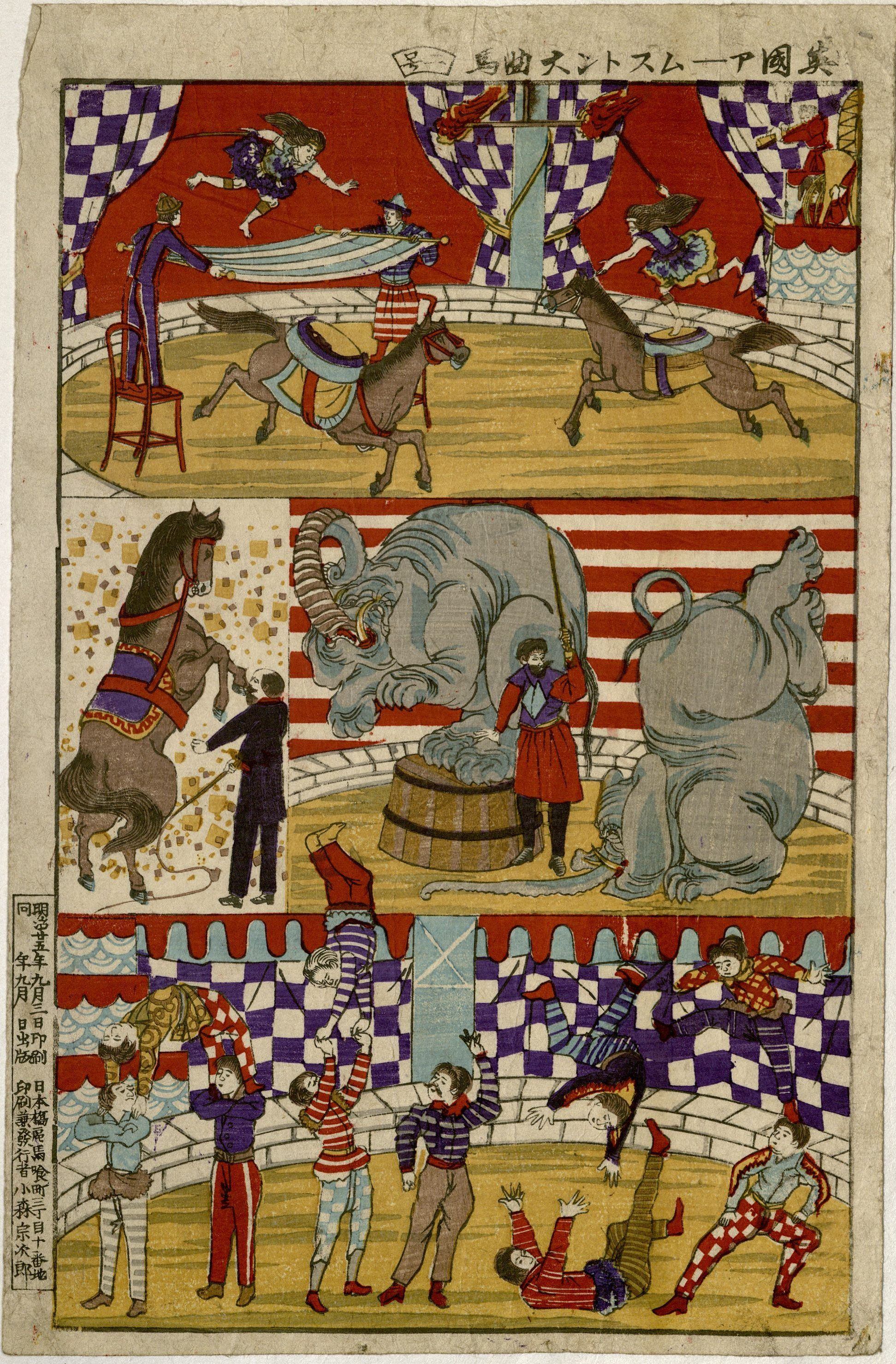Armstrong's Circus : colored print, 1892. MS Thr 949 (713)