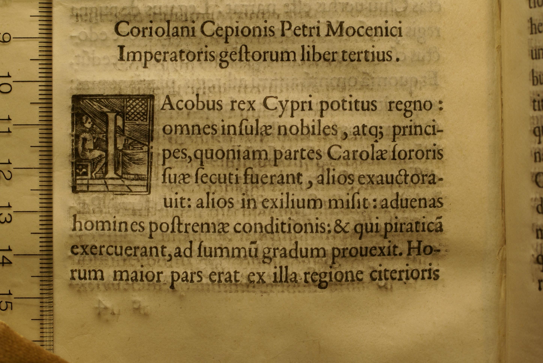 Coriolanus Cepio, Petri Mocenici imperatoris gesta, 1477. Inc 4369. Leaf e4 (detail)