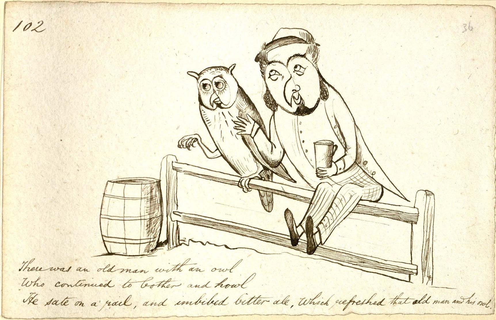 Lear, Edward, 1812-1888. There was an old man with an owl. MS Typ 55 (36)