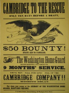 """Cambridge to the rescue"" (Boston, Mass., 1862): broadside.   US 13207.4.20*F – No source, no date."