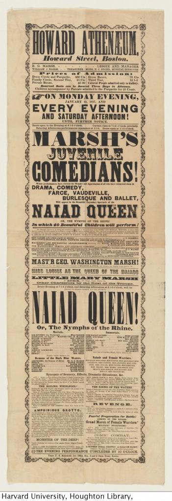 Playbill from Howard Athenaeum, January 12, 1857