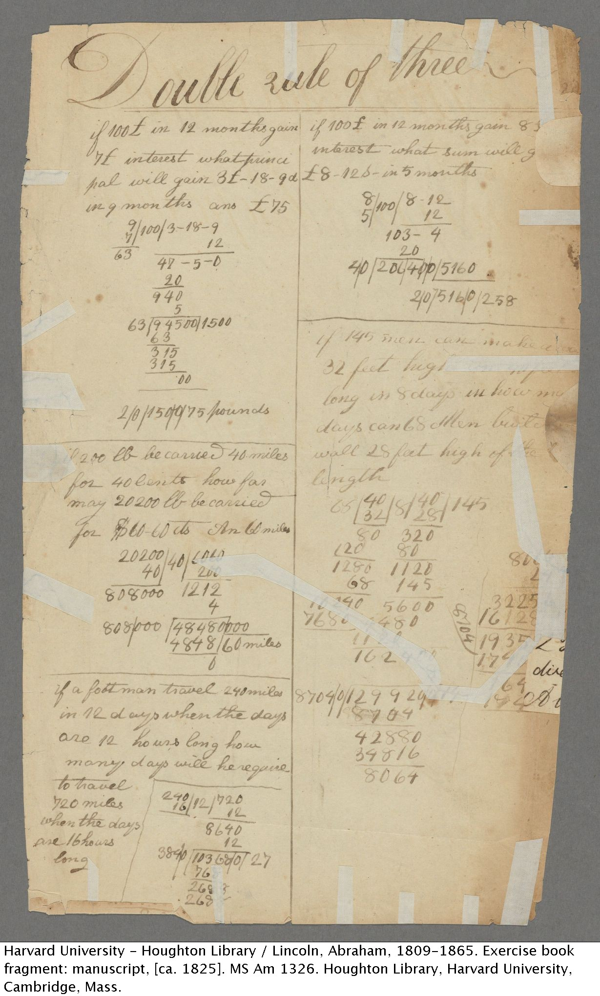Abraham Lincoln. Exercise book fragment: manuscript (recto), [ca. 1825] MS Am 1326