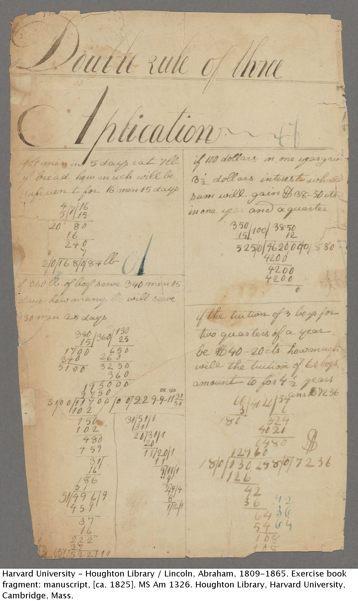 Abraham Lincoln. Exercise book fragment: manuscript (verso), [ca. 1825] MS Am 1326