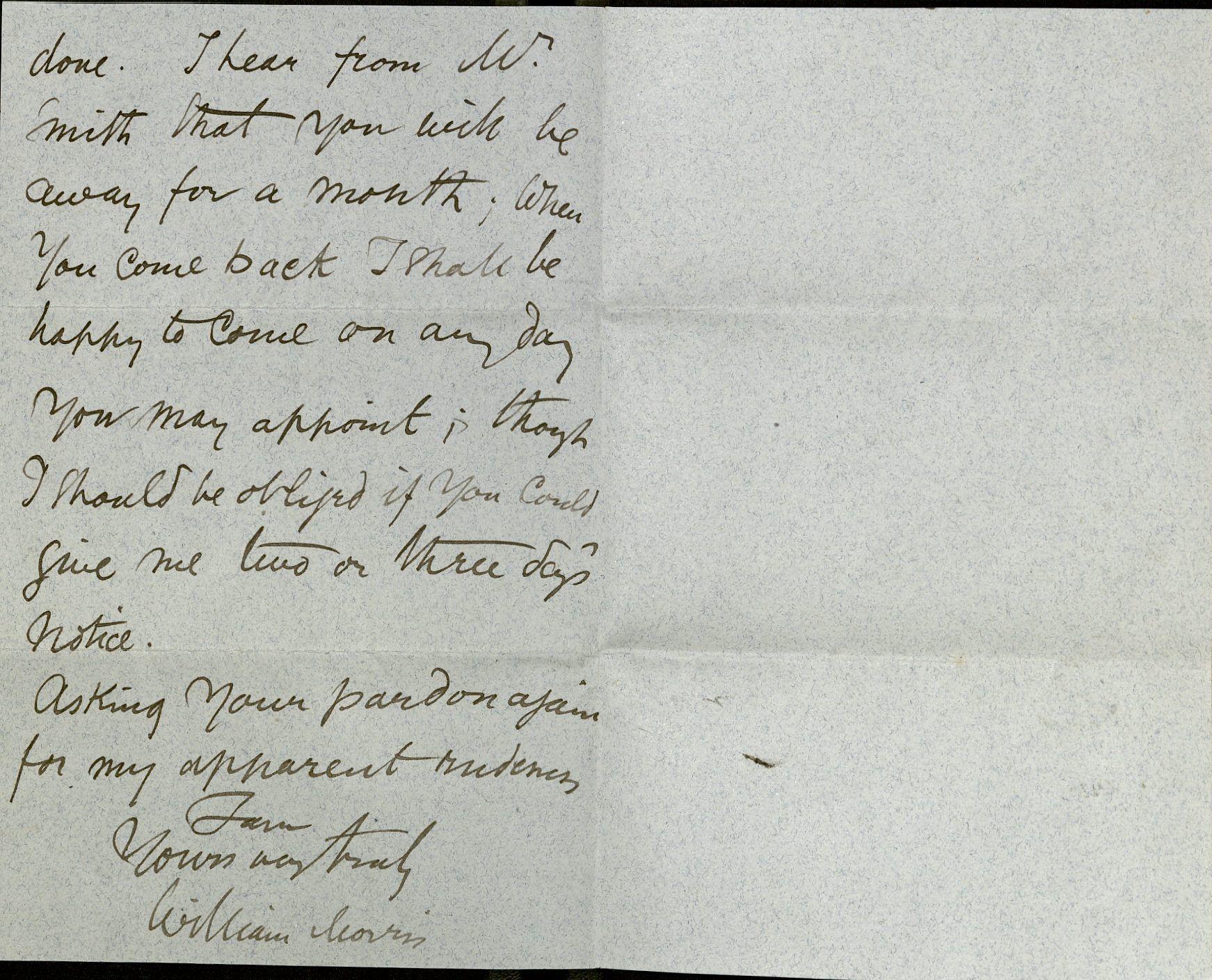 William Morris, ALS to Laurence Hodson, August 2, 1894.