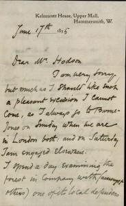 William Morris, ALS to Laurence Hodson, June 17, 1895.