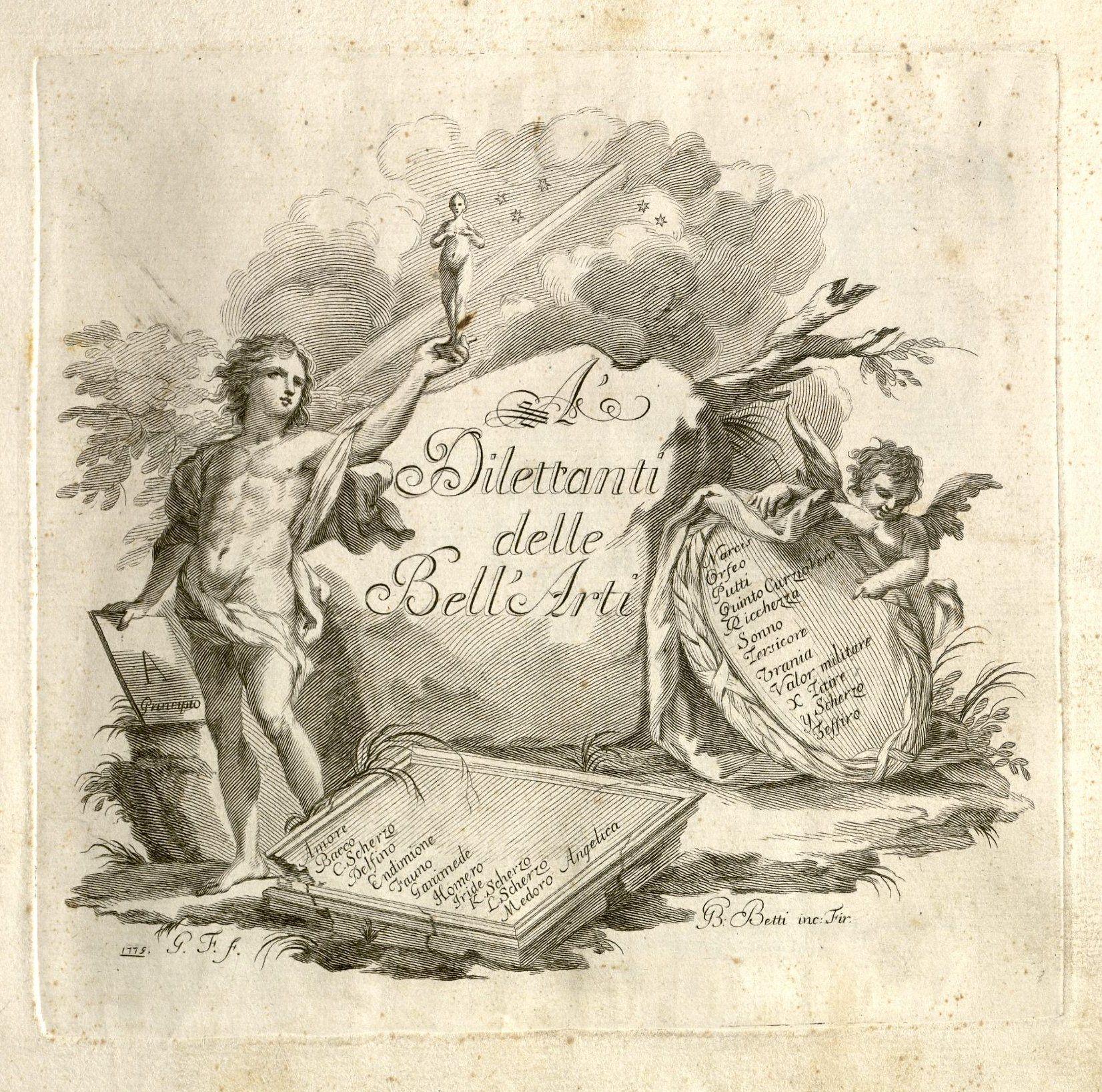 Betti, Giovanni Battista. A' dilettanti delle bell'arti. Firenze, 1779. Title page 2013H-10