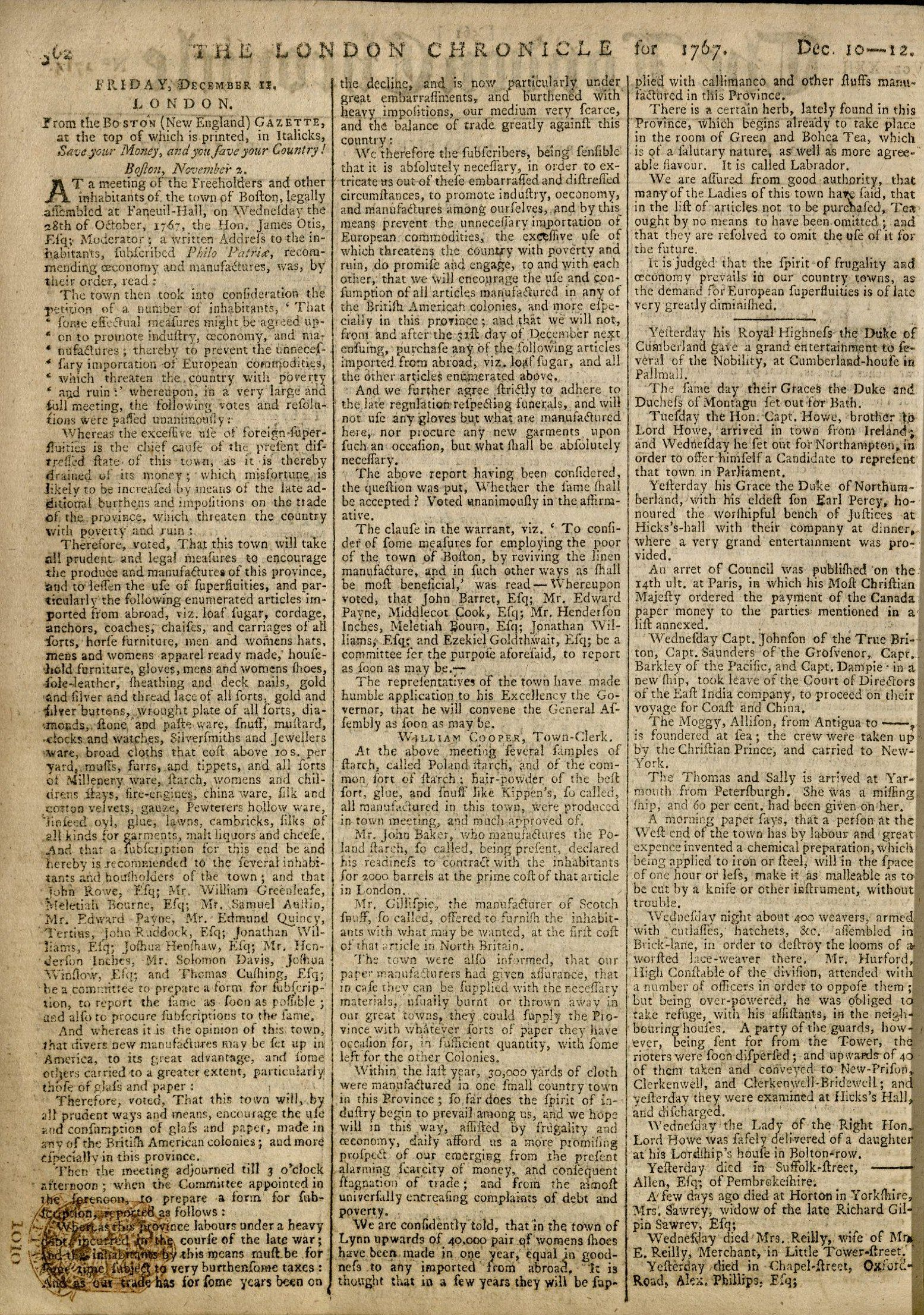 London Chronicle, Dec. 12, 1767. P 51.601