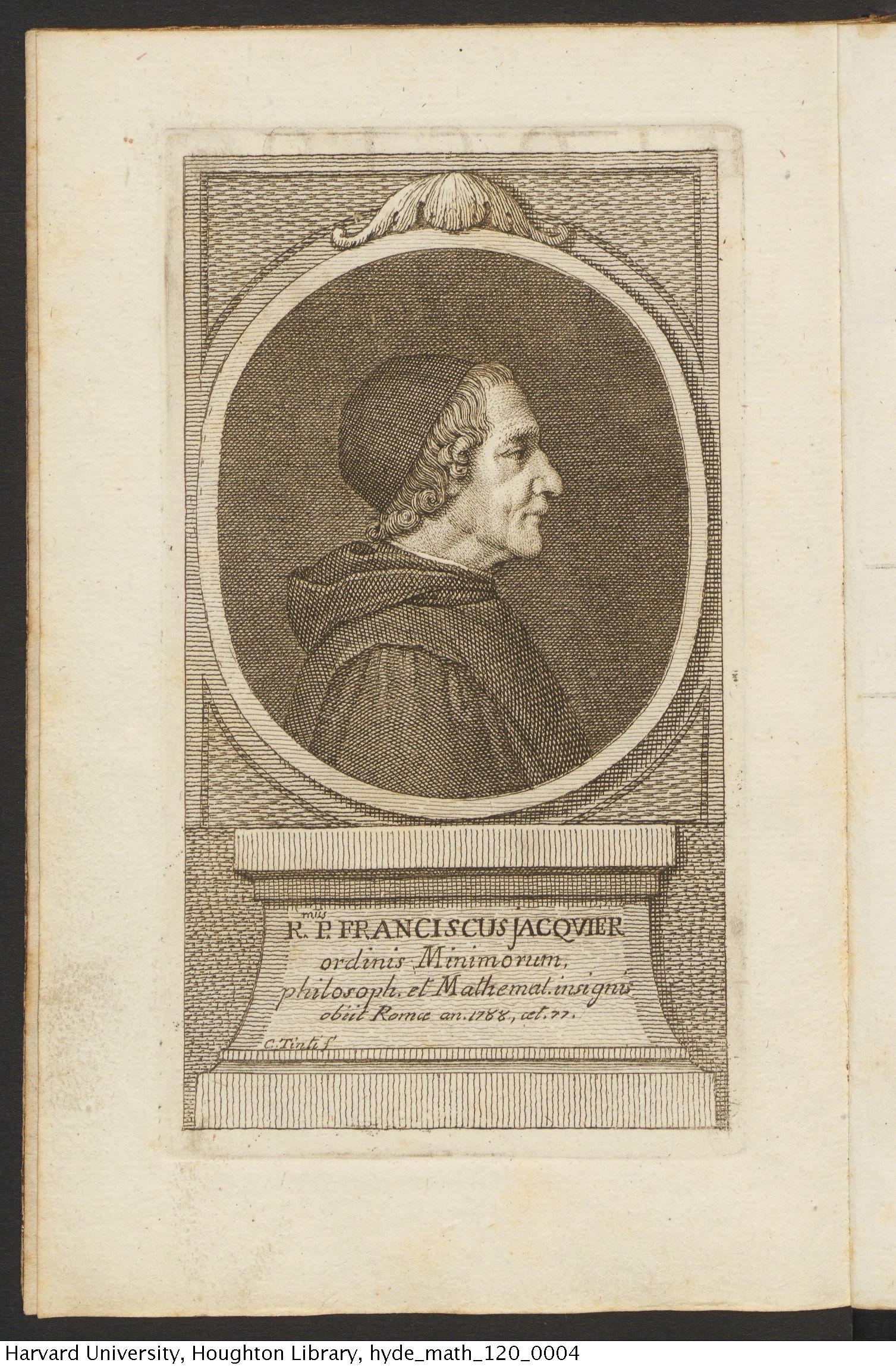 Avanzo, Giovanni Battista. Elogio del celebre P. Jacquier, 1790. Math 120*