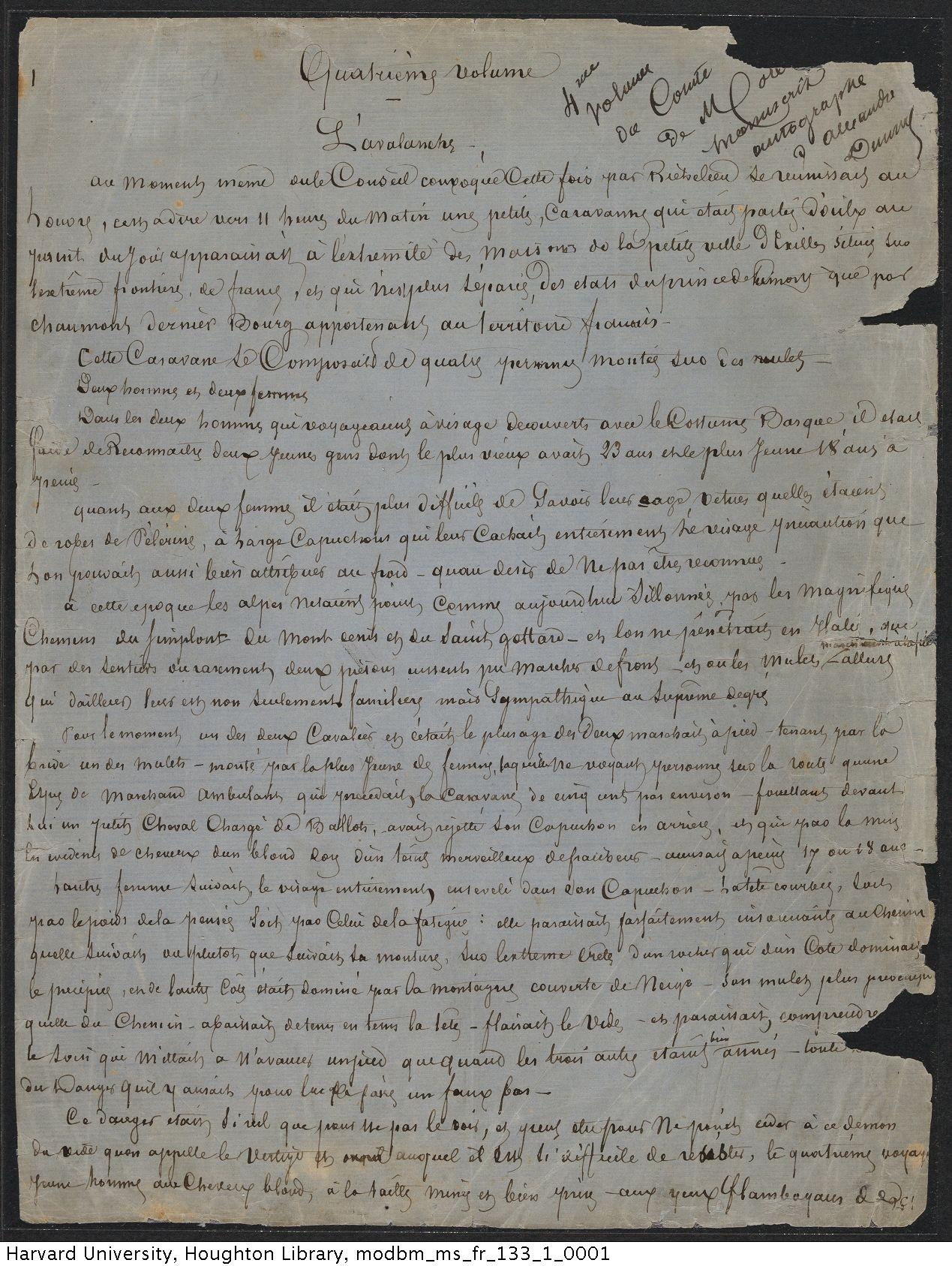 Dumas, Alexandre, 1802-1870. Le comte de Moret : manuscript, [ca. 1869]. MS Fr 133.1.