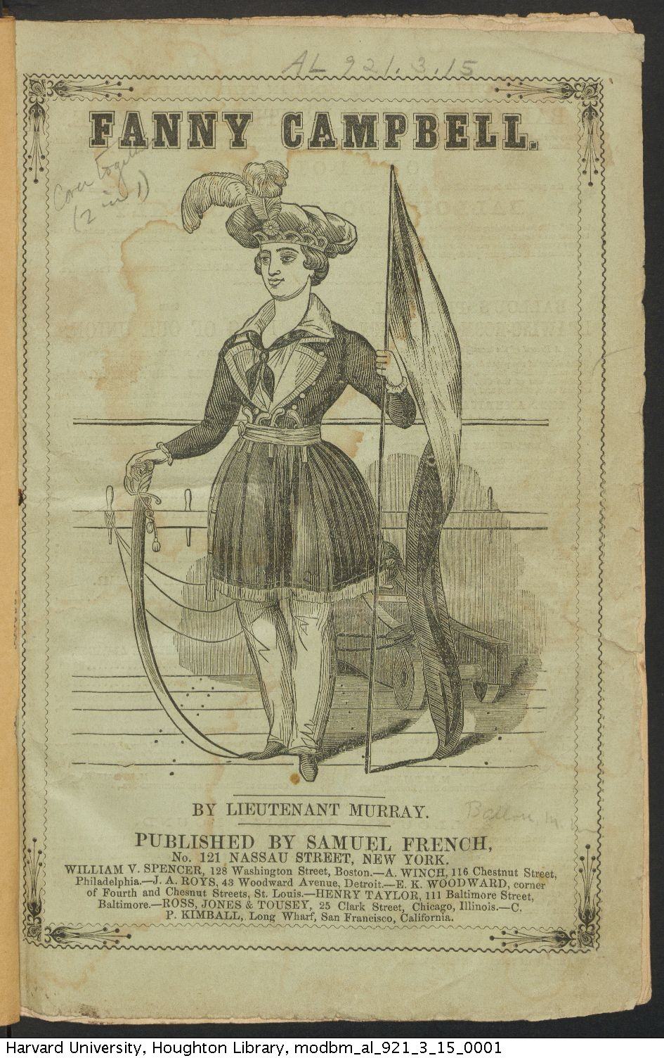 Ballou, Maturin Murray, 1820-1895. Fanny Campbell: or, The female pirate captain. A tale of the Revolution, [1844]. AL 921.3.15.
