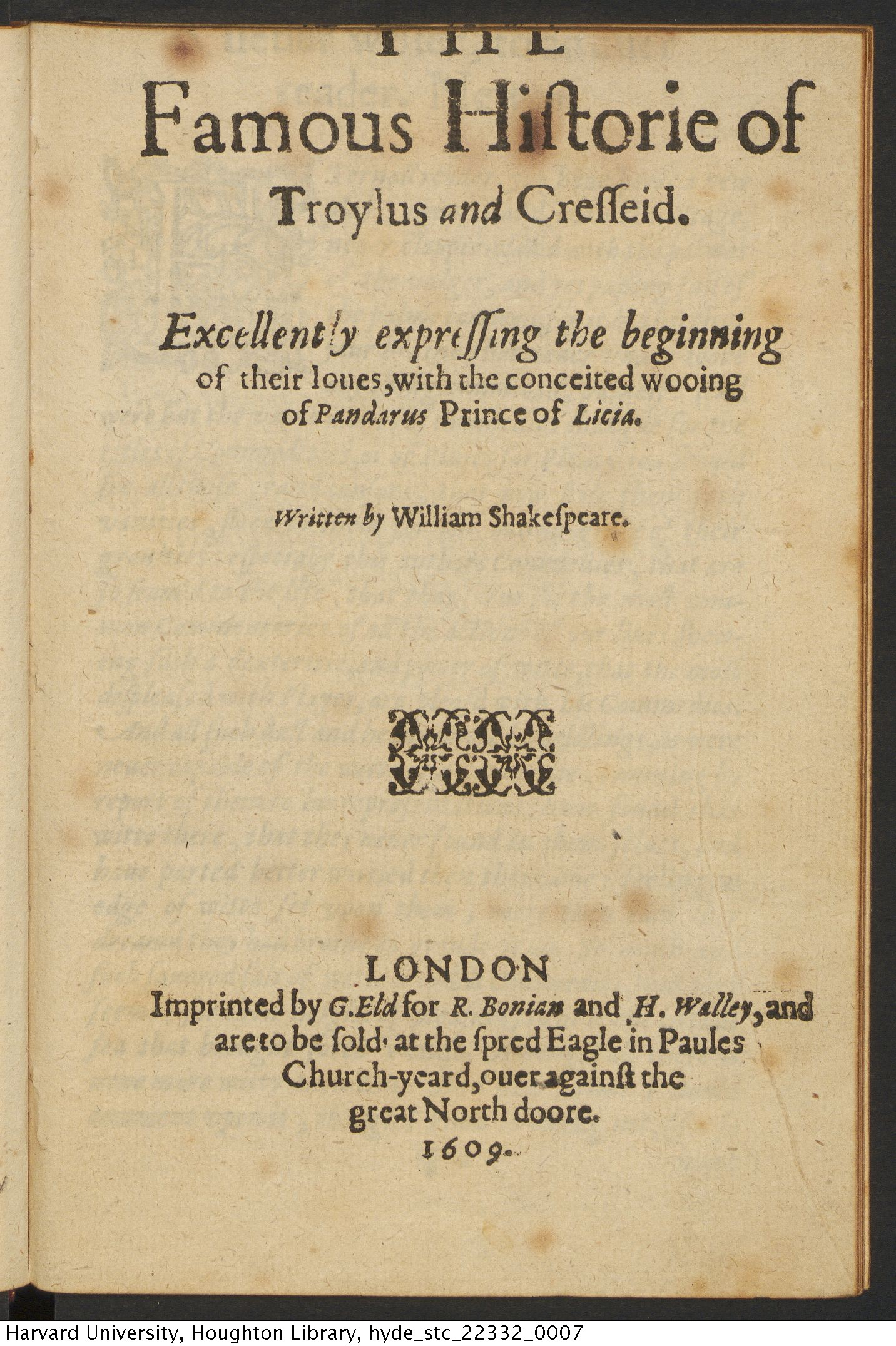 Shakespeare, William, 1564-1616. The famous historie of Troylus and Cresseid, 1609. STC 22332