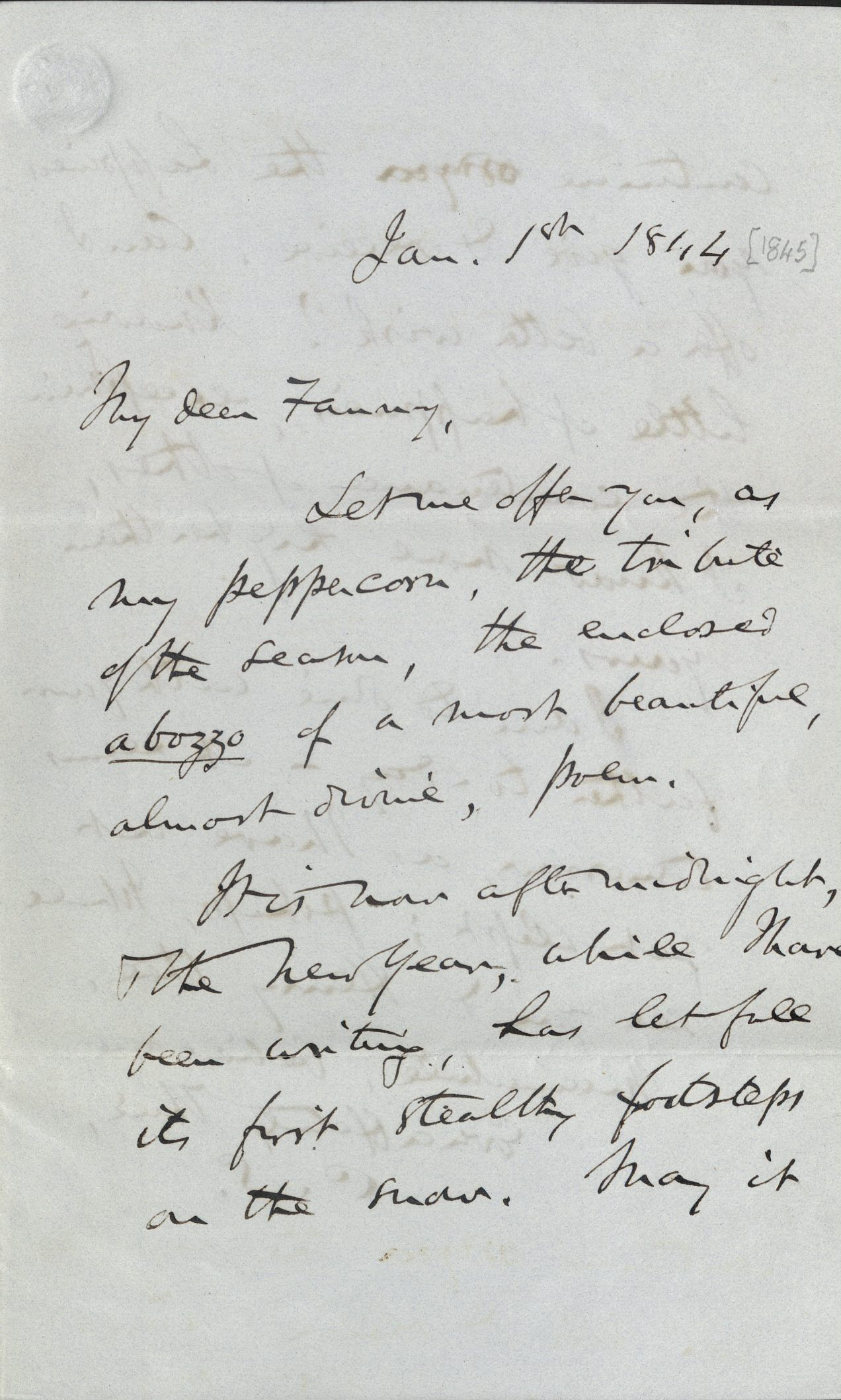 Autograph letter from Charles Sumner to Fanny Longfellow, January 1st, 1844 [i.e., 1845] - Trustees of the Longfellow House Trust, 1976