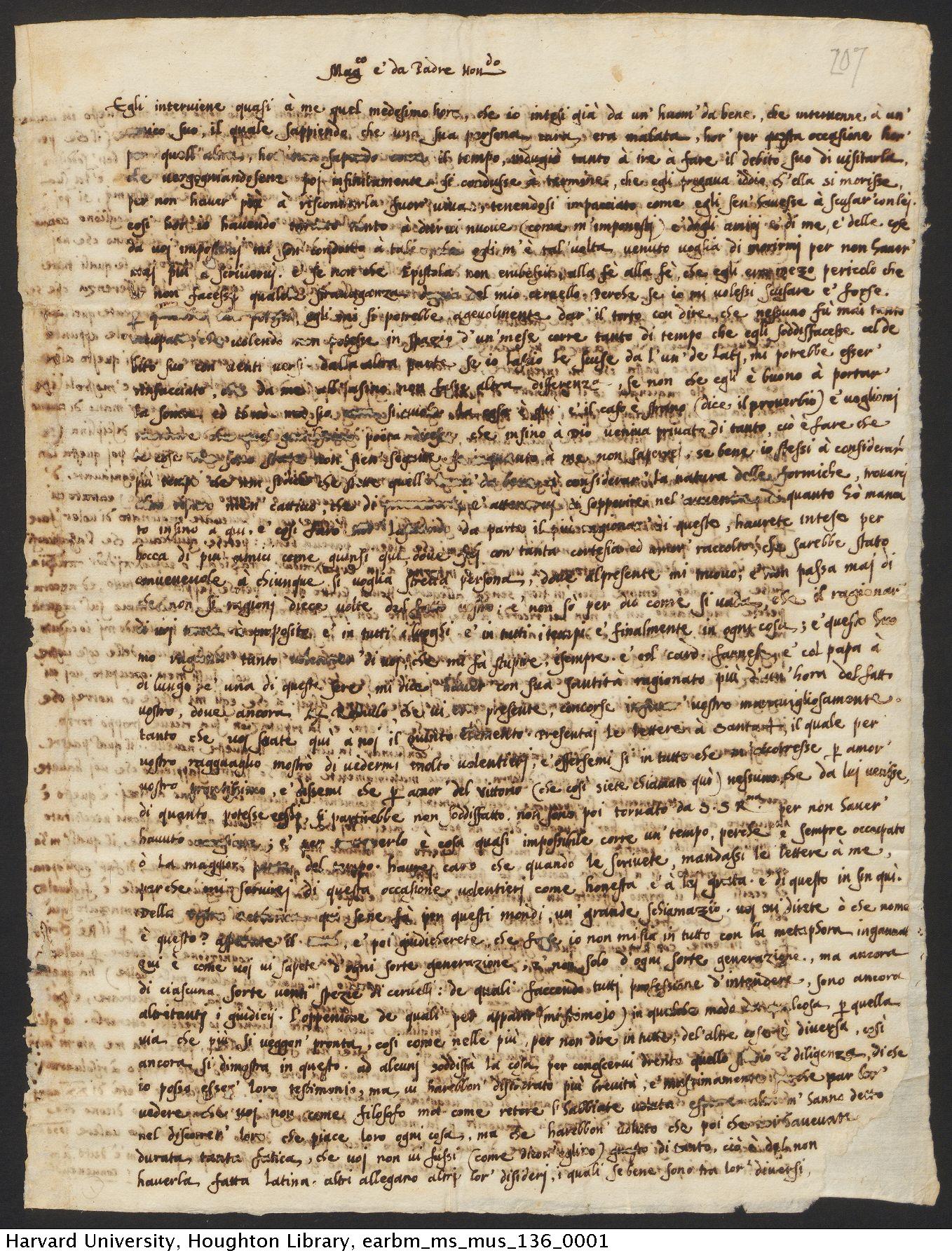 Mei, Girolamo, 1519-1594. Girolamo Mei letters to Pietro Vettori, 1548-1555. MS Mus 136.