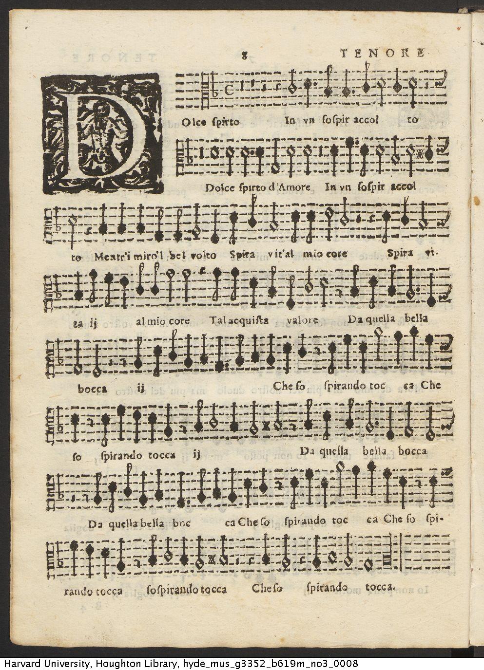 Gesualdo, Carlo, principe di Venosa, ca. 1560-1613. Madrigali a cinqve voci. Del venosa. Libro terzo. In Venetia, Stampa del Gardano, Appresso Bartholomeo Magni. MDCXIX. Mus G3352 B619m