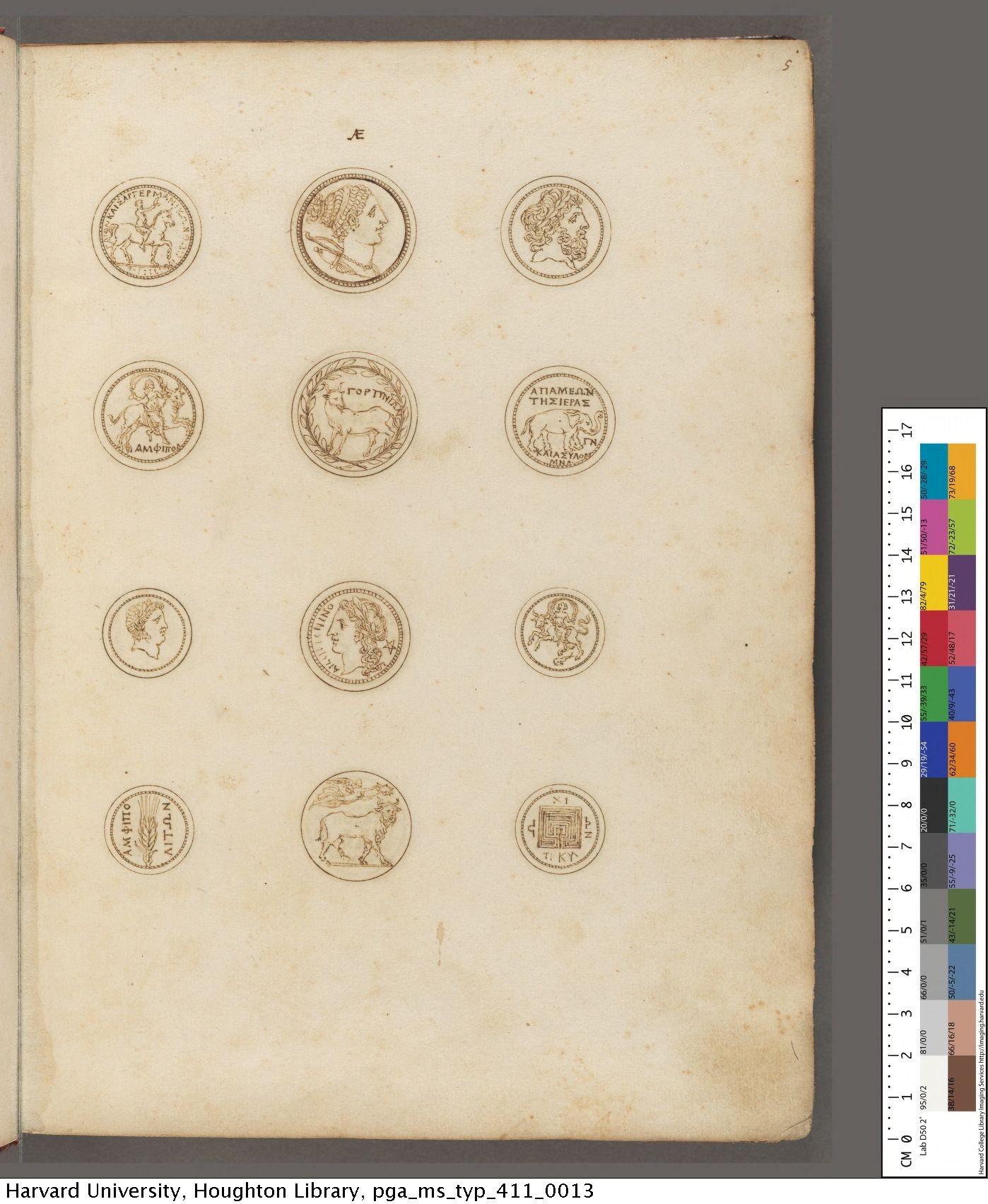 Strada, Jacobus, d. 1588. Illustrations of Graeco-Roman coins. MS Typ 411