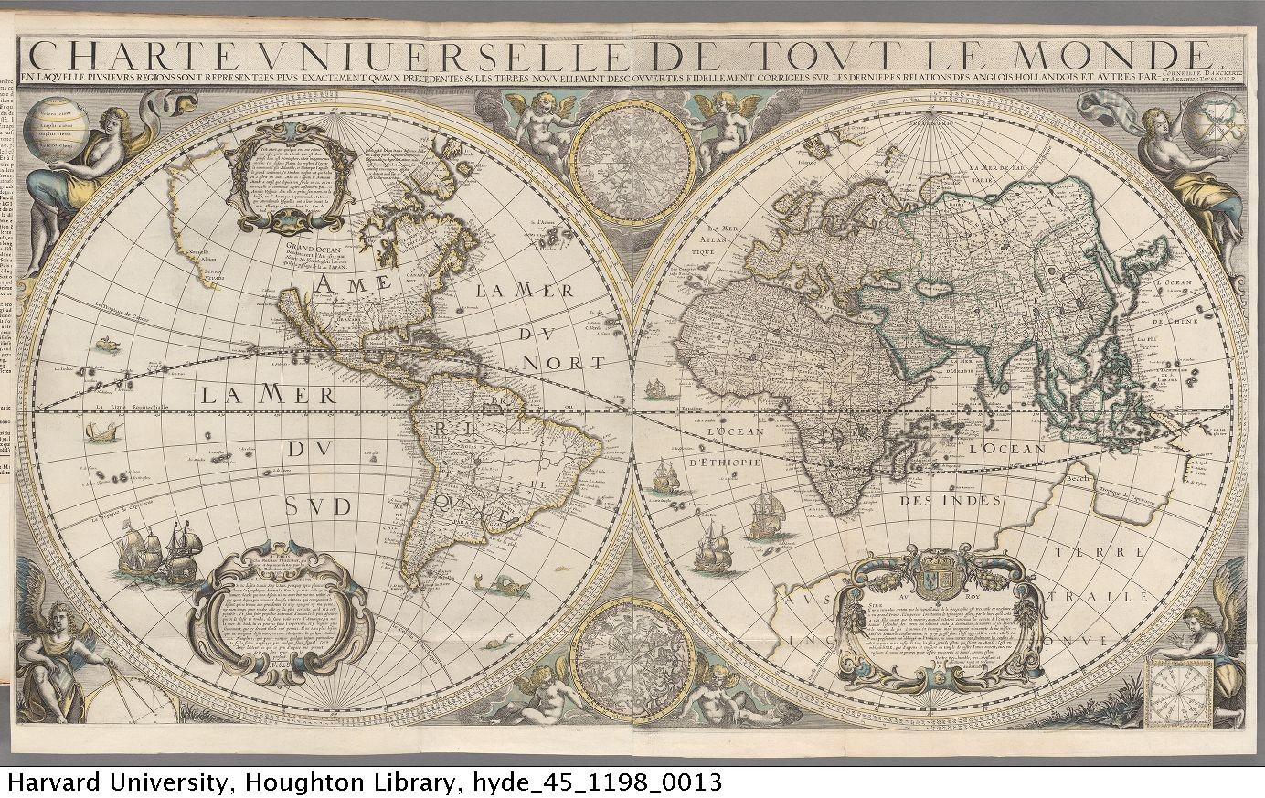 Tavernier, Melchior, d. 1641. Theatre contenant la description de la carte generale de tout le monde,1642. 45-1198*