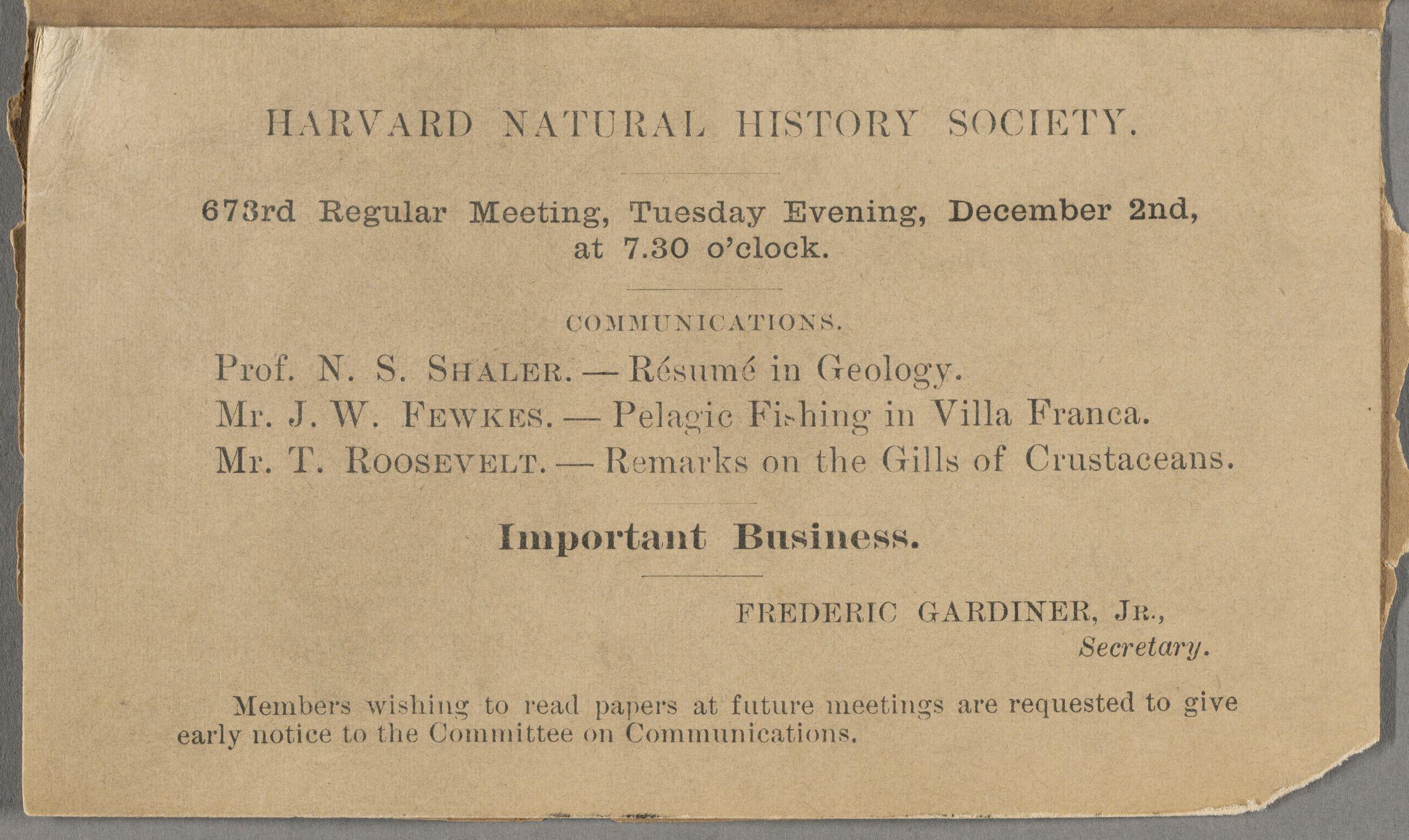 Harvard Natural History Society. 673rd regular meeting : reminder postcard; Cambridge, no year December 2. MS Am 1454.36