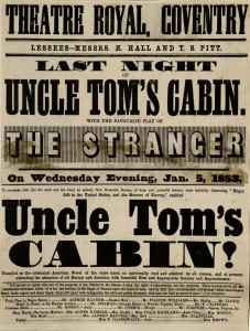 Theatre Royal (Coventry, England). Last night of Uncle Tom's Cabin with the favourite play of The Stranger : printed playbill; London, 1853 January 5. MS Thr 970 (4)