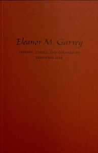 Eleanor Garvey memorial booklet (cover)