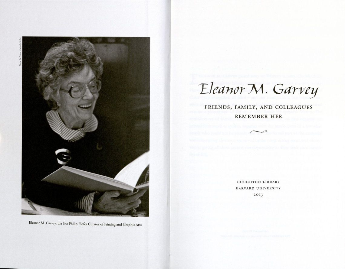 Eleanor Garvey memorial booklet