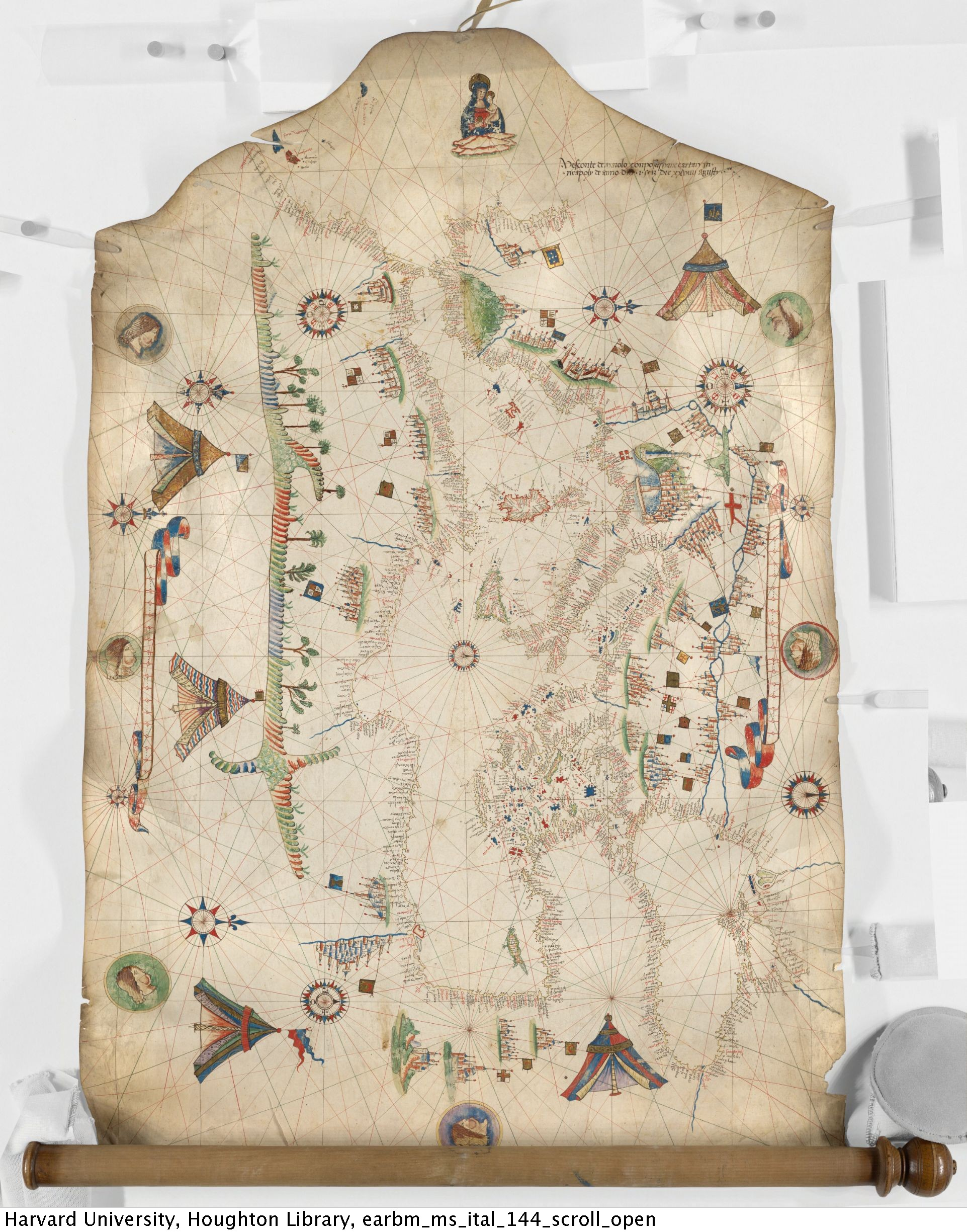 Maggiolo, Vesconte, active 1504-1549. [Portolan chart of the Mediterranean] : manuscript, 1513 Aug. 29. MS Ital 144