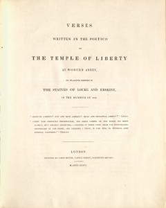 Wiffen, Jeremiah Holmes, 1792-1836. Verses written in the portico of the Temple of Liberty at Woburn Abbey, 1836. 2013-1028