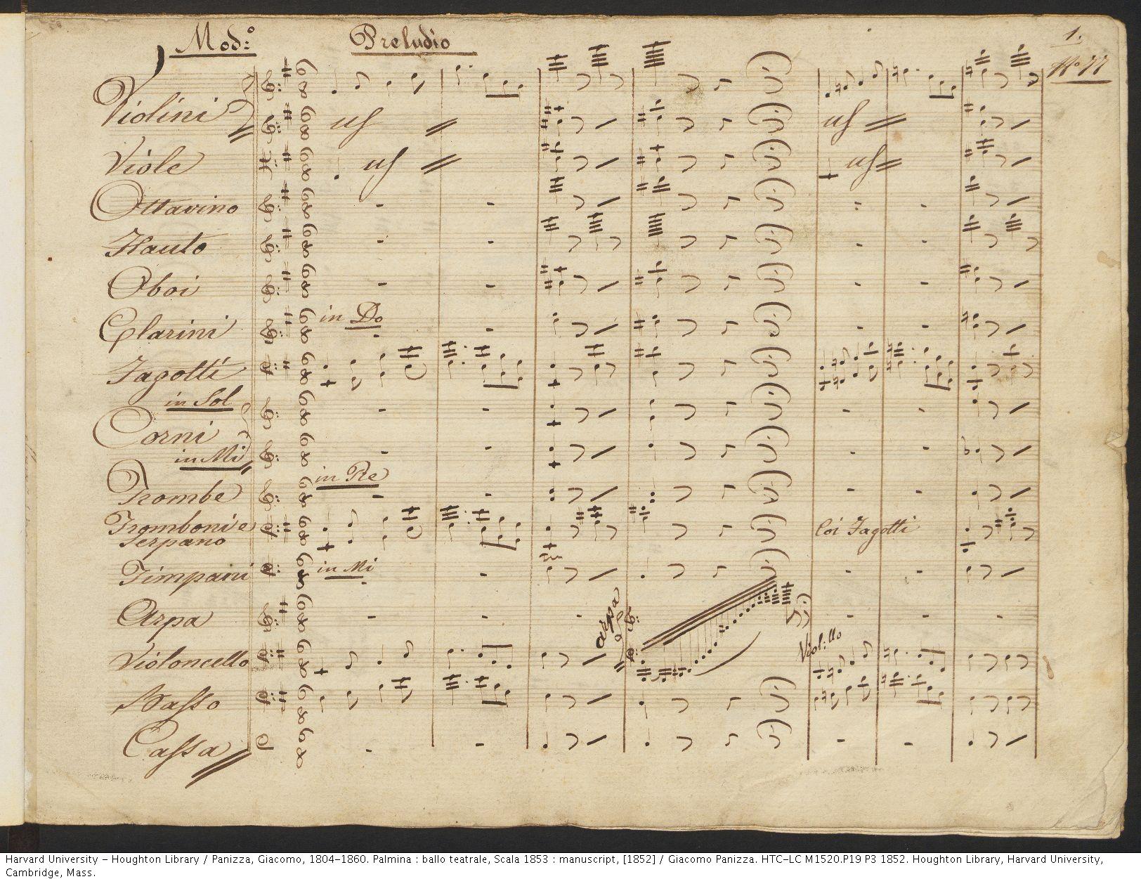 Panizza, Giacomo, 1804-1860. Palmina : ballo teatrale, Scala 1853 : manuscript, [1852] . HTC-LC M1520.P19 P3 1852