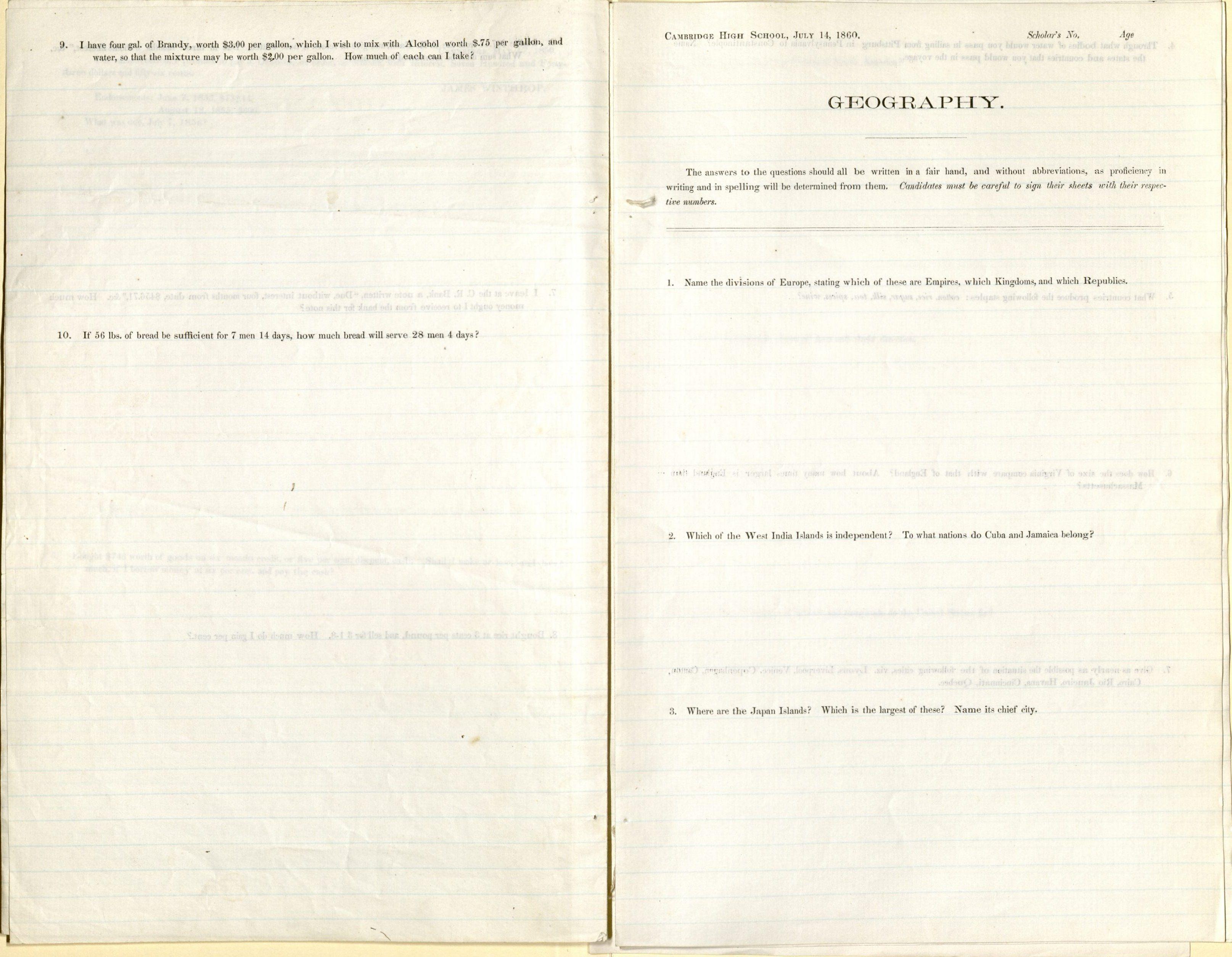 Cambridge High School examination, 1860. MS Am 2941 (15)
