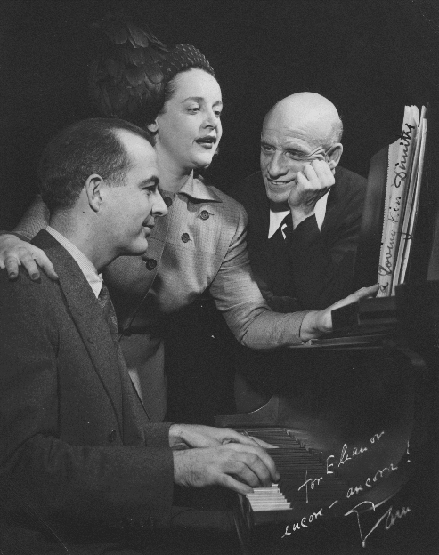 Samuel Barber, Eleanor Steber, and Dimitri Mitropoulos rehearsing Knoxville. [Photograph by Don Berg, 1948]. 2006MT-18
