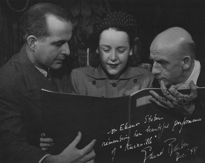 Samuel Barber, Eleanor Steber, and Dimitri Mitropoulos. [Photograph by Don Berg, 1948]. 2006MT-18