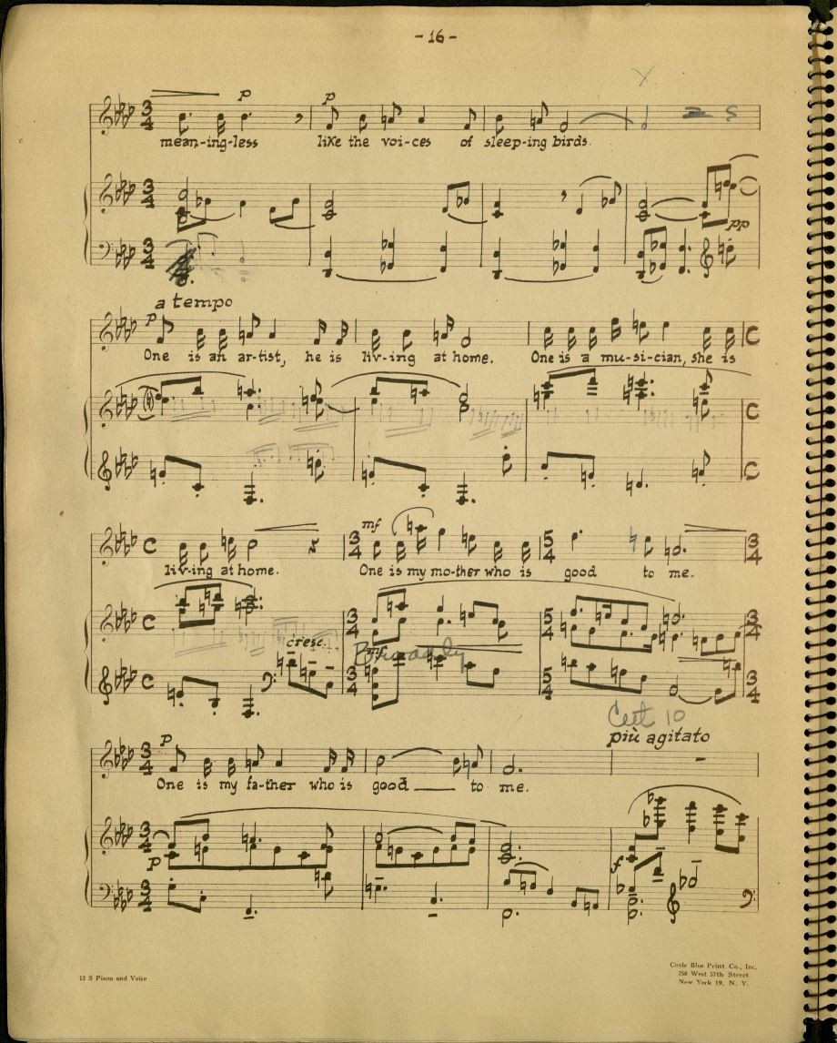 Steber's score shows revisions in Barber's hand. M1614.B23 K6 1947