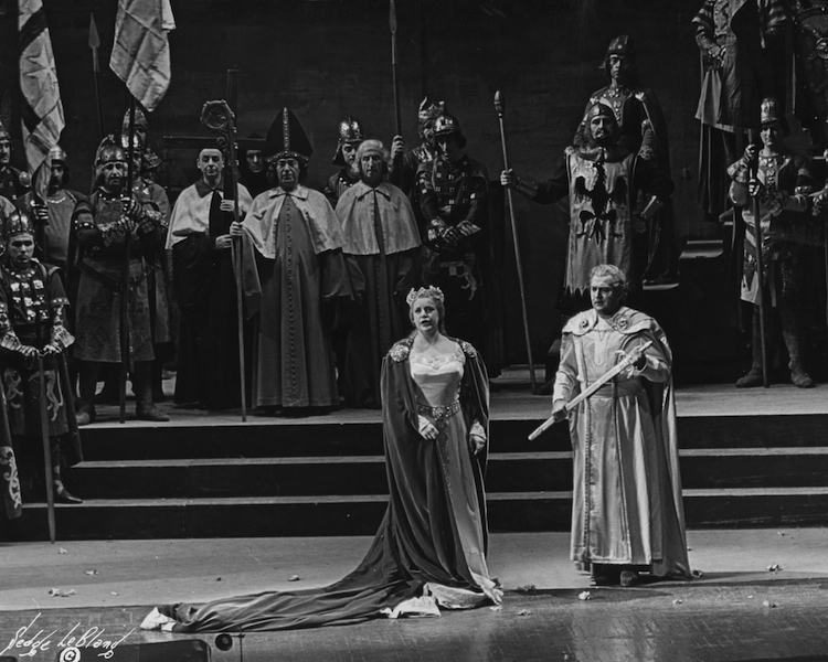 "Eleanor Steber and Wolfgang Windgassen in Wagner's Lohengrin at the Bayreuth Festival. Steber was the first American to sing Elsa there since 1894. She gave a ""deeply eloquent"" performance which was subsequently recorded. Photograph by Sedge LeBlang, [1953]. 2006MT-18"