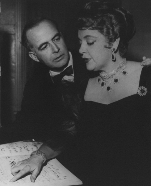 Composer Samuel Barber with Eleanor Steber during Vanessa rehearsals, [ca. 1958]. 2006MT-18