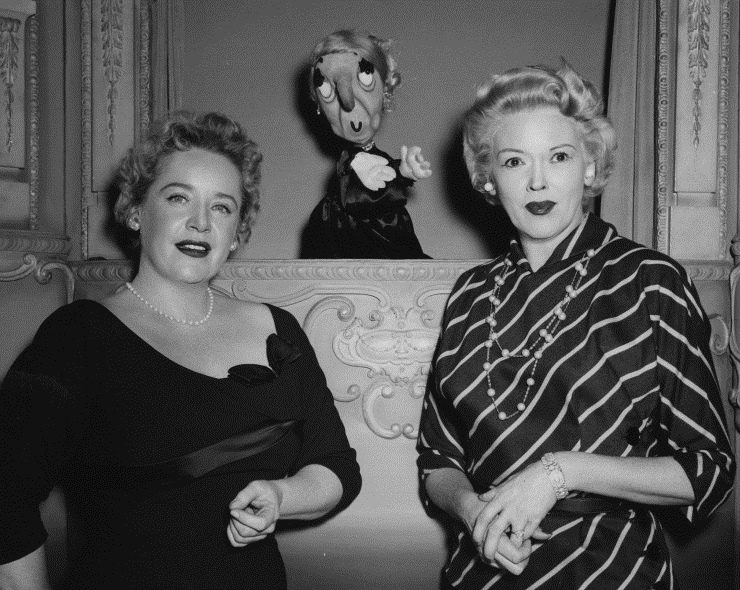 Eleanor Steber with Fran Allison and puppet Madame Oglepuss, a retired opera diva, from the children's television program Kukla, Fran and Ollie. Photograph by Ellingsen, n.d. 2006MT-18
