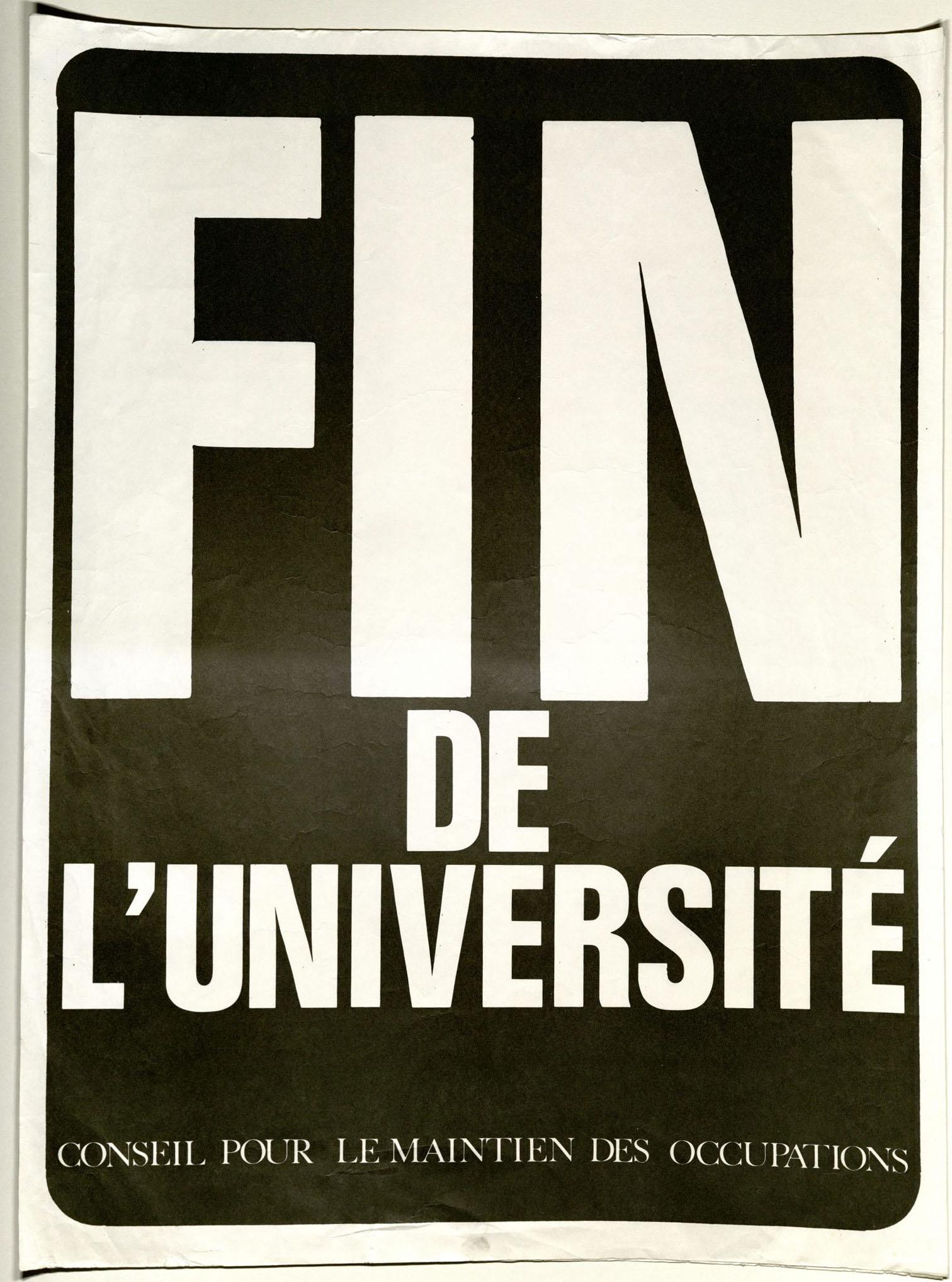 Fin de l'université : poster, 1968.  FB9.A100.968p (36)