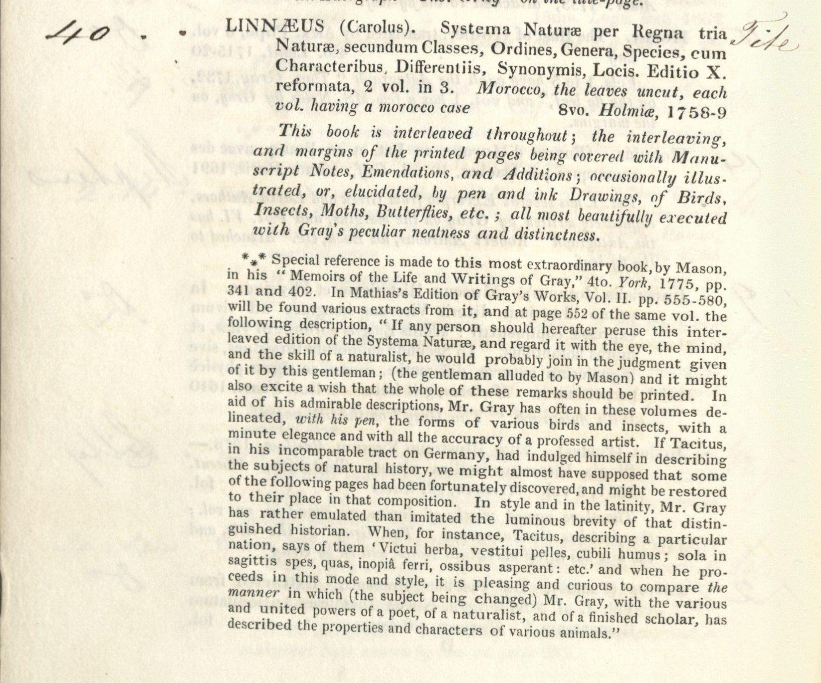 1851 Sotheby's entry for Gray's Linnaeus. B 1827 435*