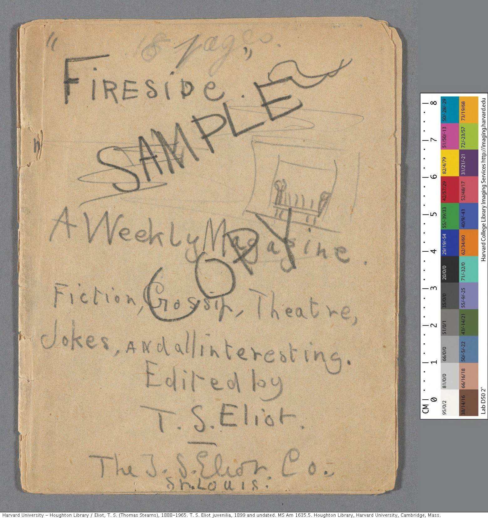 Fireside Magazine. Eliot, T. S. (Thomas Stearns), 1888-1965. T. S. Eliot juvenilia,. MS Am 1635.5.