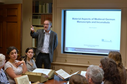 Dr. Peter Rückert leads a seminar at Houghton Library