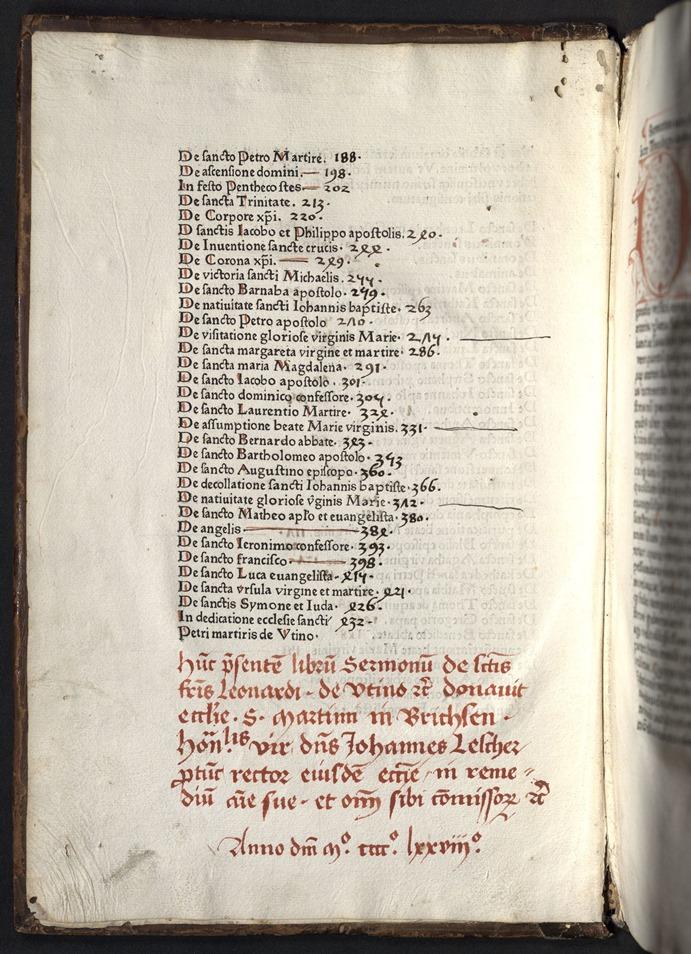 Leonardus de Utino. <i>Sermones de Sanctis</i>. [Augsburg: Monastery of SS. Ulrich and Afra], 1474. 2014-1062