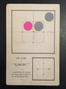 … marked off in squares… The game card depicting a syllogism. Lewis Carroll, The Game of Logic, 1886. EC85.D6645.886g (A), Houghton Library, Harvard University.