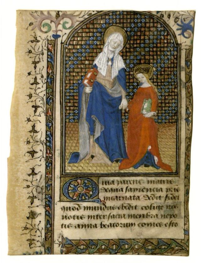 Saint Anne and the Virgin Mary illuminated leaf : manuscript, circa 1430. Tarleton book of hours. MS Lat 450