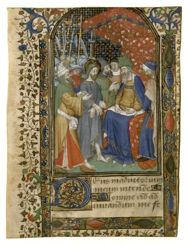 Christ before Pilate illuminated leaf : manuscript, circa 1430. Tarleton book of hours. MS Lat 451