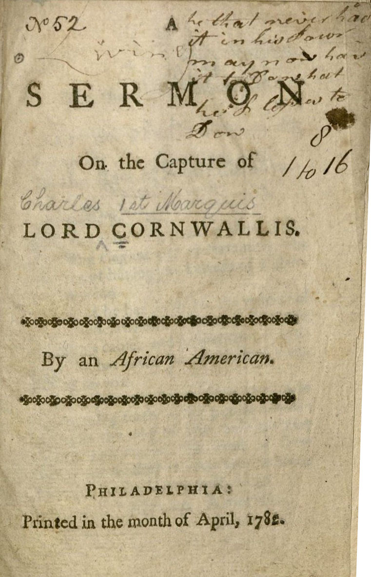 A sermon on the capture of Lord Cornwallis. US 4405.5