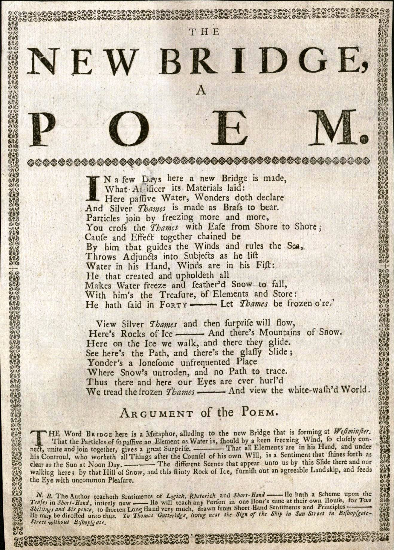 Thomas Gutteridge. The new bridge: a poem (1739 or 1740). Houghton EB7.G9878.739n